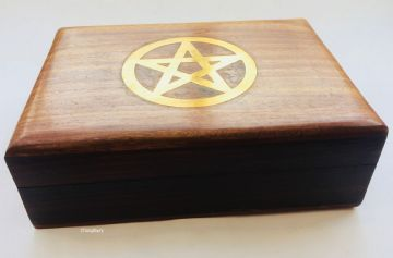 "BRASS 7x5"" PENTAGRAM Jewellery Trinket Box"